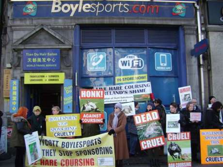 Protesters calling on Boylesports betting agency to stop sponsoring cruel hare coursing