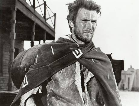 Clint Eastwood as the Man with No Name in a publicity image of A Fistful of Dollars, a film by Sergio Leone.