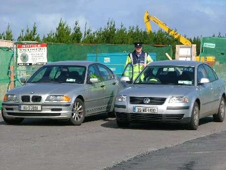 Garda at the entrance to the Ballinaboy Refinery construction site