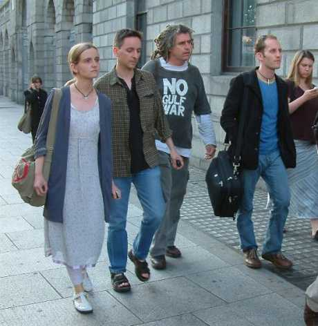 Deirdre, Fintan, Ciarnonand Damien walk from court this evening.