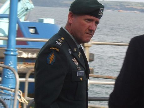 US Army in Cork Harbour - Officer on Cobh's Deepwater Quay during last weeks protest at visit of USS The Sullivans