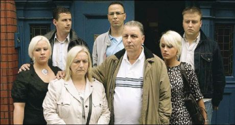 The wheelock family outside the coroners court