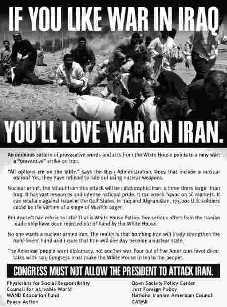 If you like war in Iraq, Youll love war in Iran : US people call for communication and no war