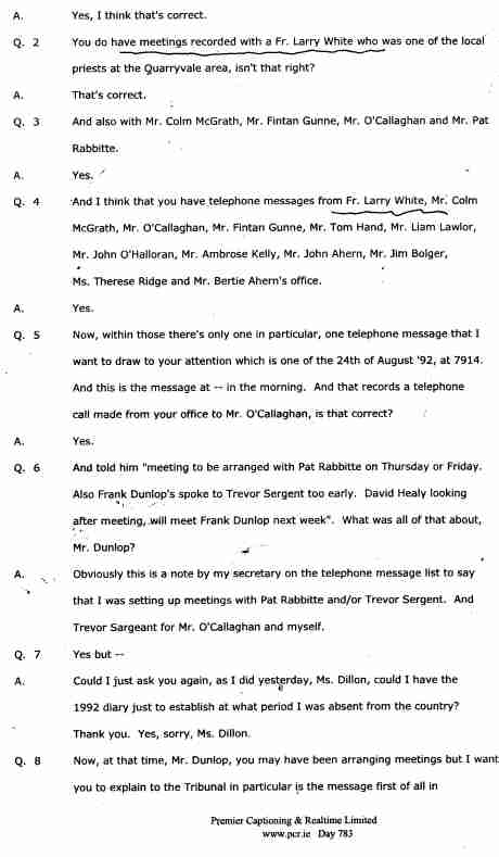 Fr. White's name mentioned in MAHON official Transcript TWICE