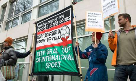 PSC and Jews for Boycotting Israeli Goods campaigners protest and Israeli team playing in England