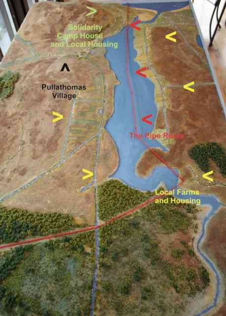 A model of the area where the pipe is planned to go onshore through the estuary.