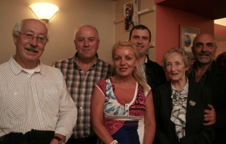 Willie Corduff (of Rossport Five) with friends at the premier.