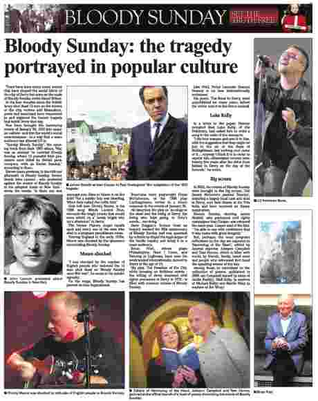 Derry Journal's 15 June 2010 page on Bloody Sunday in popular culture - click on the image to read it