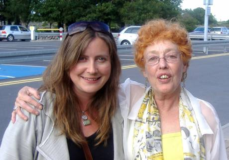 Sylvia Crawford (left) and Eve Lerner at Galway Airport {LitPix 2010}