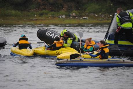 Guardie ramming into kayaks and capsizing