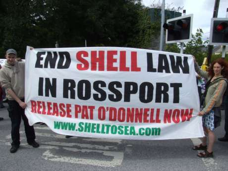 Banner at Pat's release celebration, Castlerea