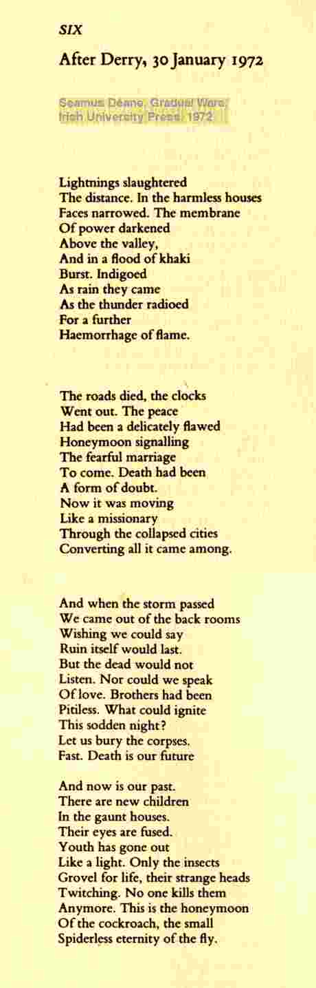 Seamus Deane's poem on Bloody Sunday, After Derry, 30 January 1972