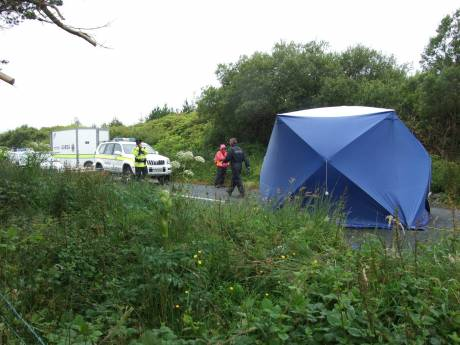 cutting scene with blue tent erected
