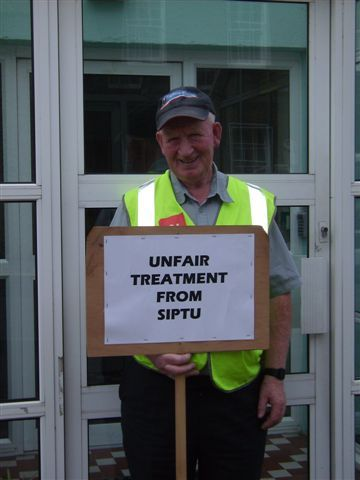 Jack Kavanagh picketing the SIPTU office in Kilkenny