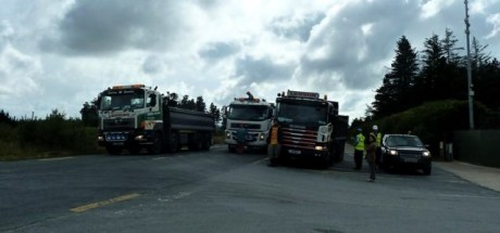 lorries block the road