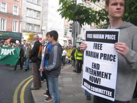Supporters of Free Marian Price Campaign, Dublin Committee, publicizing their cause to the Campaign Against Household & Water Charges march, 18th July.