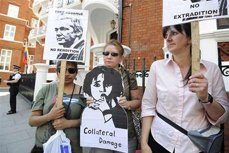 Supporters of WikiLeaks Founder Julian Assange gather outside the Ecuador Embassy in central London (Reuters)