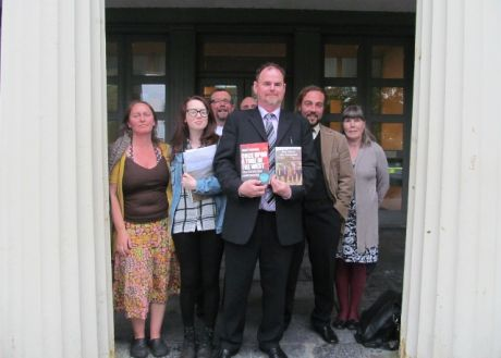 Gerry Bourke & Liam Heffernan with family & friends outside Castlebar courthouse on Friday