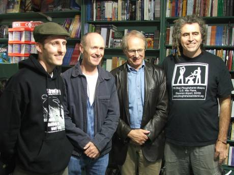 Damien, Paul Laverty, Ken Loach, Ciaron O'Reilly in Liam O'Ruiseal's Bookshop