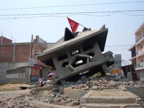 Gyanendra monument  after the riots.