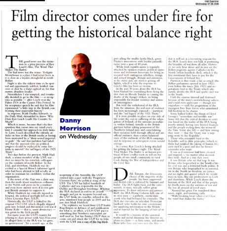 Danny Morrison review and coment on controversy surrounding Ken Loach Film