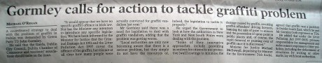 Today's Irish Times - Gormley calls for action to tackle graffiti problem