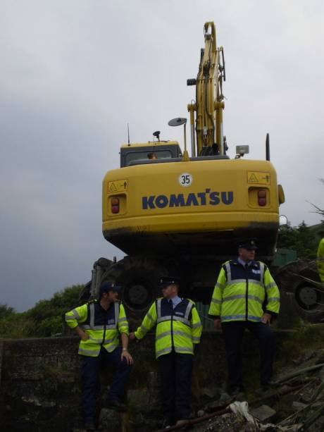 Gardai guard the digger