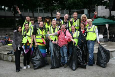 The Pride committee getting ready for the tidy up od DCC amphitheatre