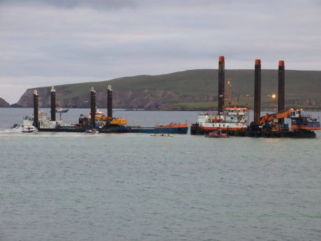 IRMS security and Belcross 'safety' boats struggle to keep us away from dredgers.