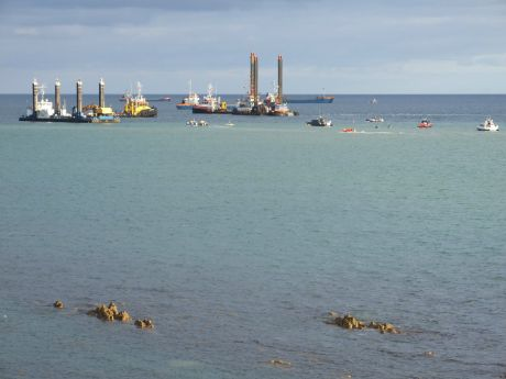 A view of shell's huge fleet that had invaded broadhaven bay in preparation for the Solitaire - Chased out by a group of activists in inflatable kayaks.