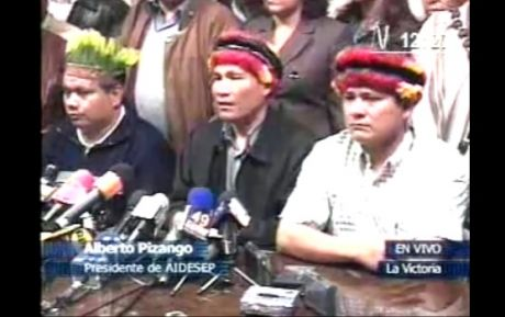 """I hold the government of President Alan Garcia responsible for ordering the genocide,"" indigenous leader Alberto Pizango"