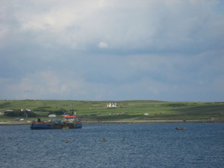 Approaching the winching barge near Ballyglass pier in the morning action