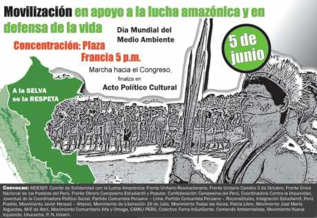 Mobilisation in support of hte Amazonian struggle and in defense of the life - World Environmental Day