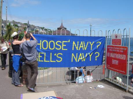 Members of Cork Shell to Sea make their voice heard at the Naval Pier in Cobh