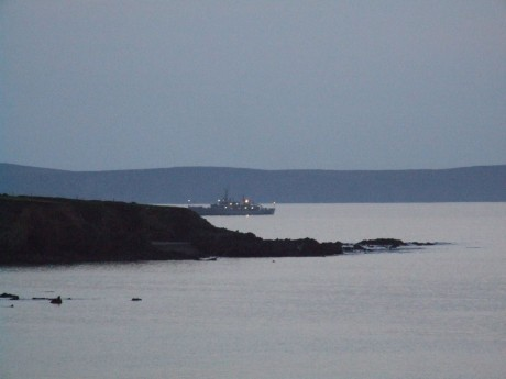Shell War Boat Emer at anchor in the bay tonight