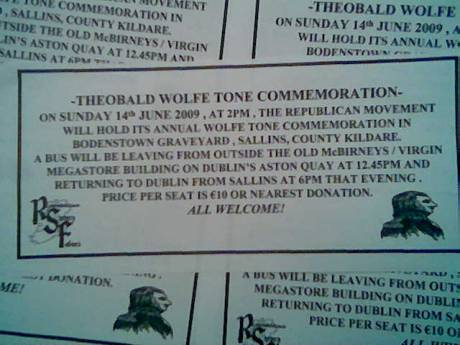 Wolfe Tone Commemoration leaflets 2009.
