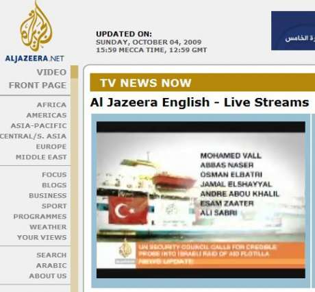 Al Jazeera live stream re flotilla massacre- 7 A-J reporters were on board, no word if alive or dead