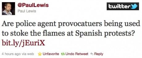 Guardian Journo: Are police agent provocatuers being used to stoke the flames at Spanish protests?