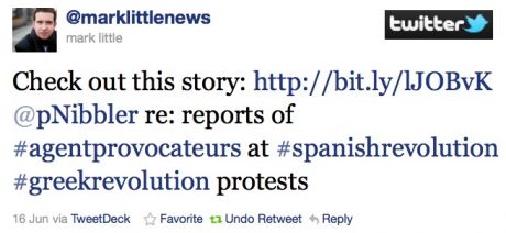 "Irish Journalist Mark Little regarding J15 + ""Debate rages over violence at Spanish protests"""