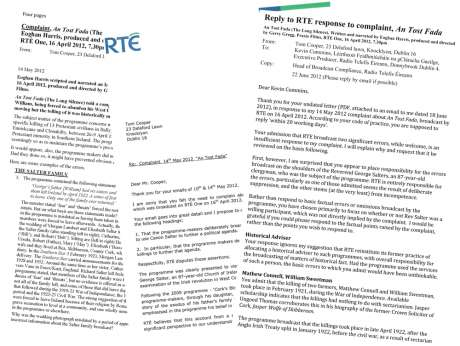 Complaint, RTE response and Tom Cooper reply attached as PDFs below