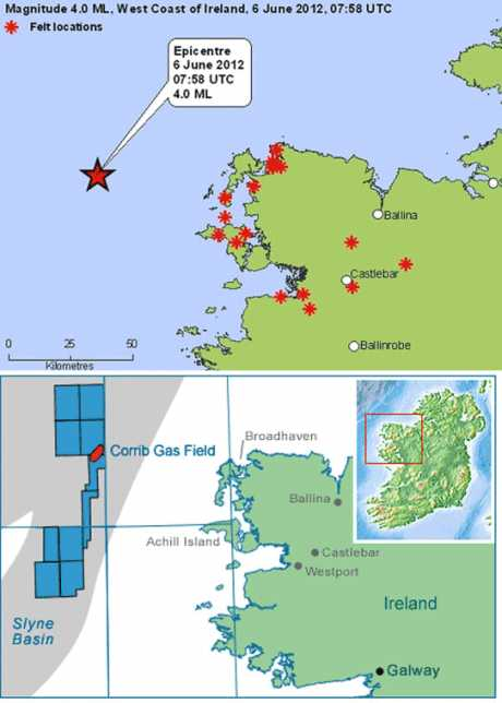 map showing relative location of Corrib Gas Field and Earthquake origin