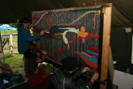 Community weaving went on throughout the weekend
