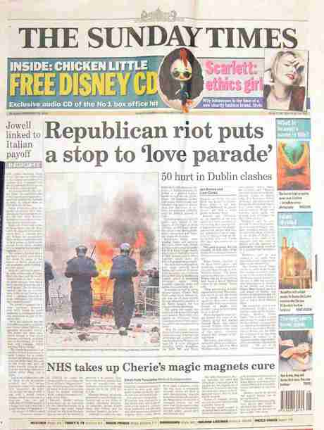 Front page of Sunday Times Feb 26th 2006
