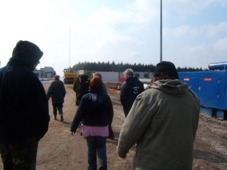 Campaigners walk onto the site at Bellanaboy Bridge.