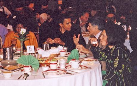 From L to R : Michelle and Barack Obama, Edward and Mariam Said at a May 1998 Arab community event in Chicago at which Edward Said gave the keynote speech