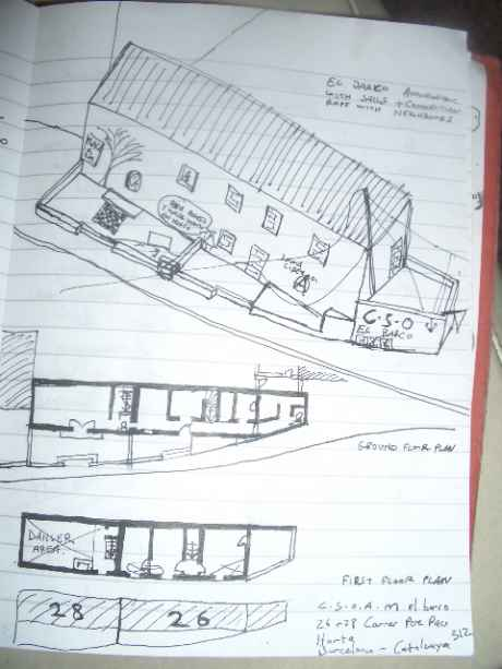 rough axonometric and plans of EL BARCO