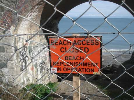 The old railway bridge. ACCESS TO BEACH DENIED!