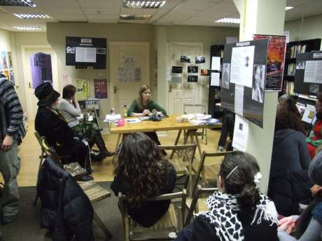Deirdre Clancy, peace activist and former Pitstop Ploughshares 5 member, at her talk, evening