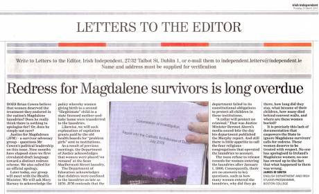 Justice for Magdalenes - lead letter Irish Independent 25 march 2010