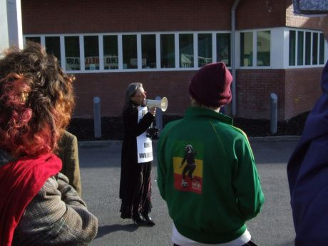 Maura Harrington speaking again, outside the prison sentry room
